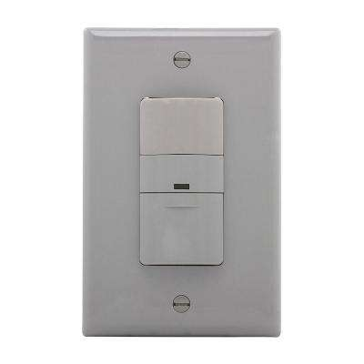600-Watt 3-Way and Single Pole Infrared Wall Mount Vacancy Sensor, Grey