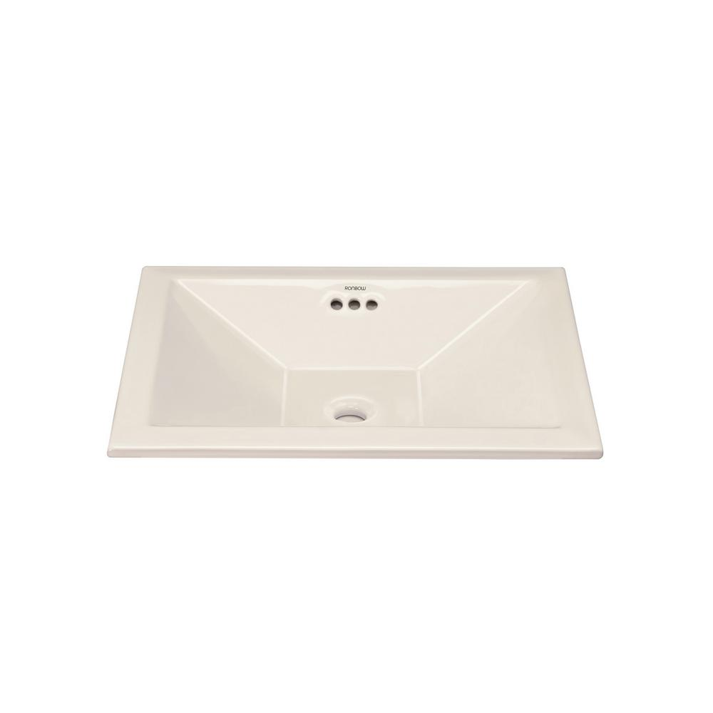 Monument 19.625 in. Self-rimming Bathroom Sink in Biscuit