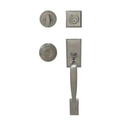 Zinc-Alexander Single Cylinder Satin Nickel Door Handleset with Interior Mushroom Knob