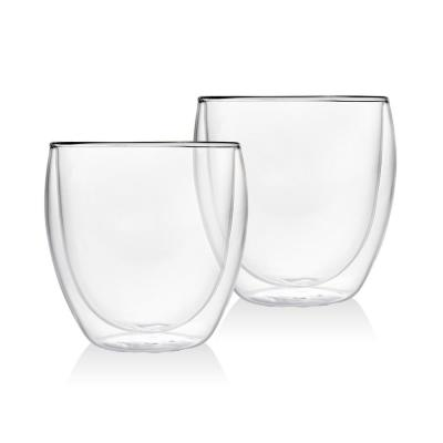Double Wall 8.5 oz. Crystal Coffee Mugs Pair