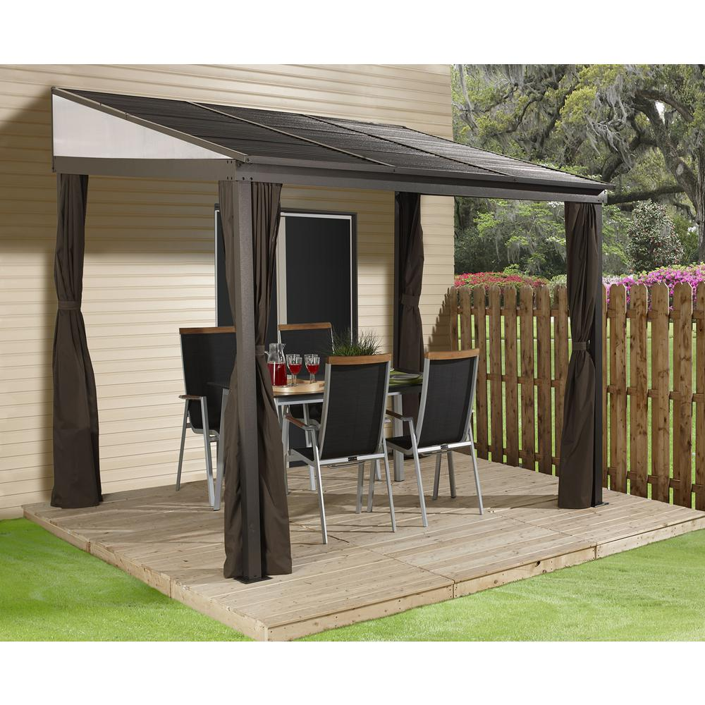 Sojag 10 Ft D X 12 Ft W Portland Wall Mounted Aluminum Gazebo With Galvanized Steel Roof Panels And Mosquito Netting 500 9165470 The Home Depot