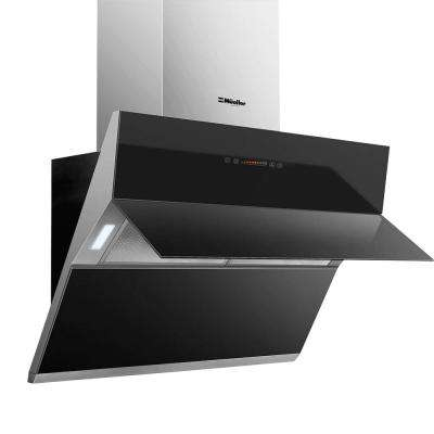 Mueller Deluxe 36 in. High Air Flow, Wall Mount Oven Range Hood in Satin and Black Tempered Glass LED Touch Control