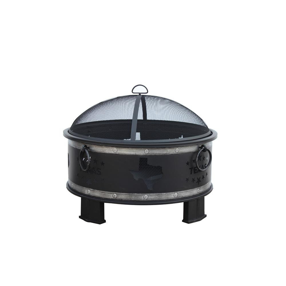Hampton Bay Montrose Diameter 30 in x H23.8in. Round Steel Wood Burning Fire Pit with Texas Decoration