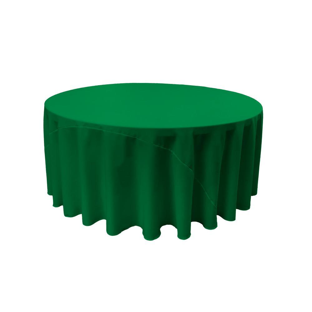 LA Linen 120 in. Emerald Green Polyester Poplin Round Tablecloth