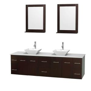 Wyndham Collection Centra 80 inch Double Vanity in Espresso with Solid-Surface Vanity Top in White, Porcelain Sinks and... by Wyndham Collection