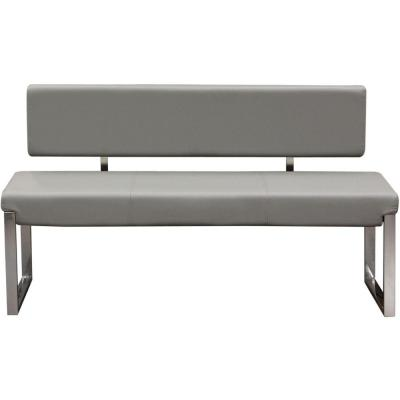 Gray and Silver Leatherette Upholstered Bench with Stainless Steel Frame and Back Support 55 in. L x 17 in. W x 28 in. H