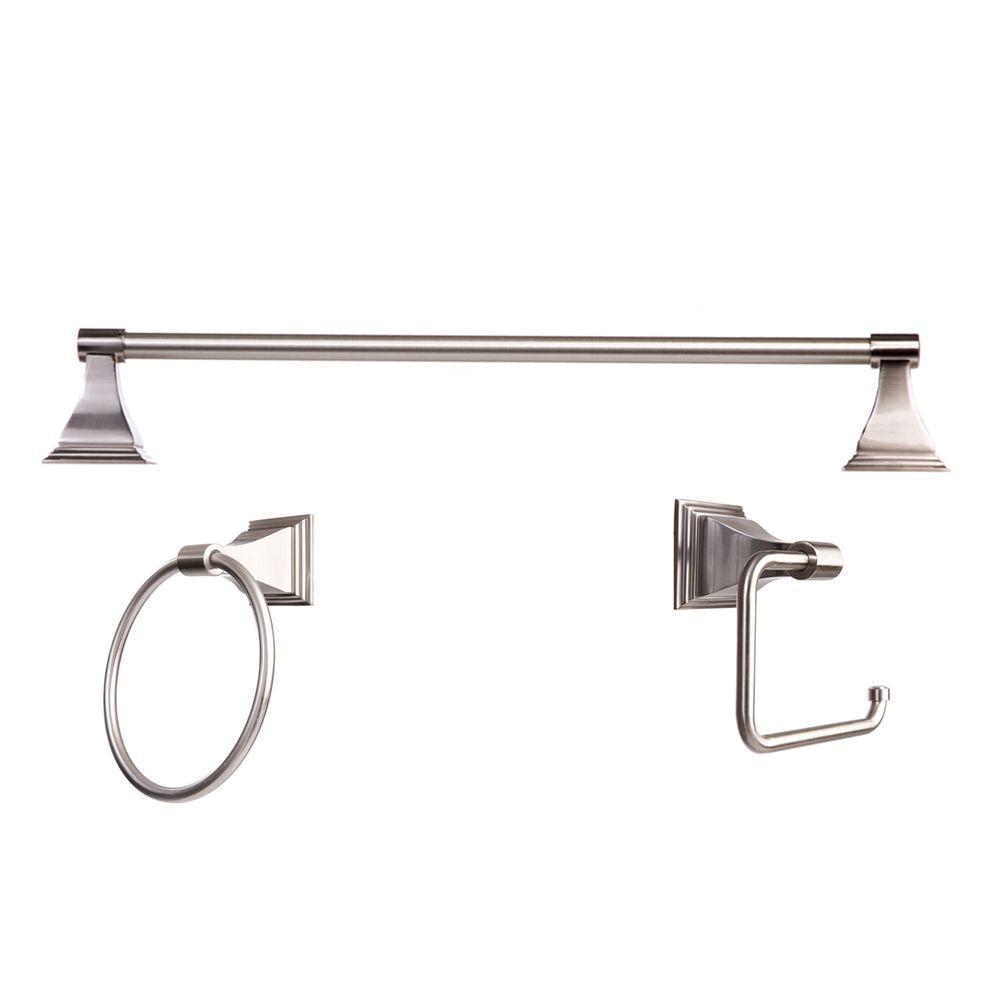 Arista Leonard Collection 3 Piece Bathroom Accessory Kit In Satin Nickel Ba1702 3pc Set Sn