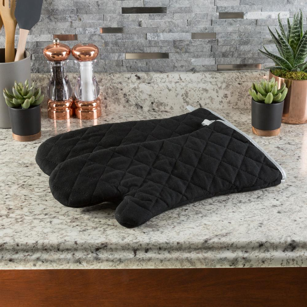 1fb84fc8a48 Lavish Home Quilted Cotton Silver Oversized Heat Resistant Pot Holder Set  (2-Pack)