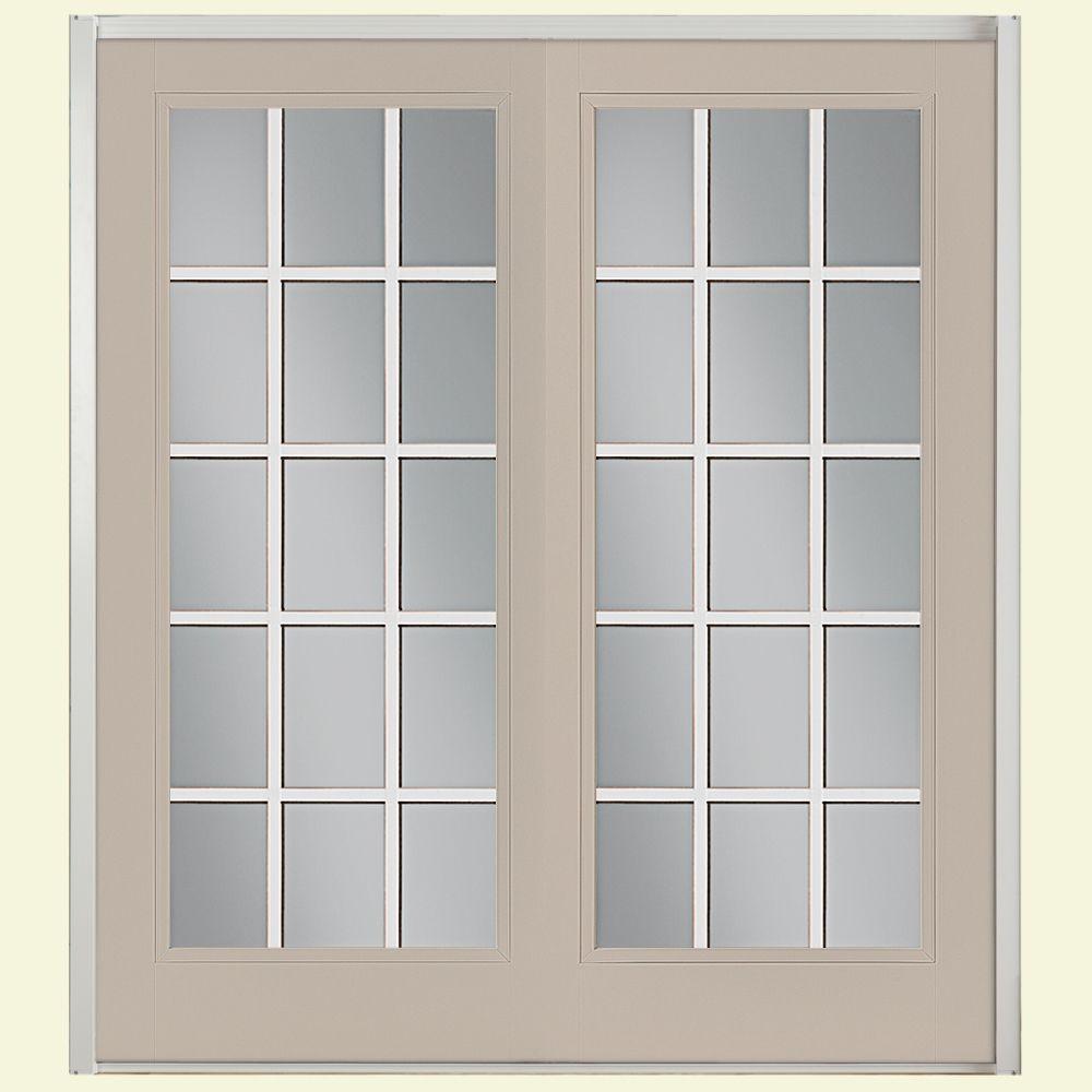 Prehung 15 Lite Steel Patio Door with No Brickmold in Vinyl Frame