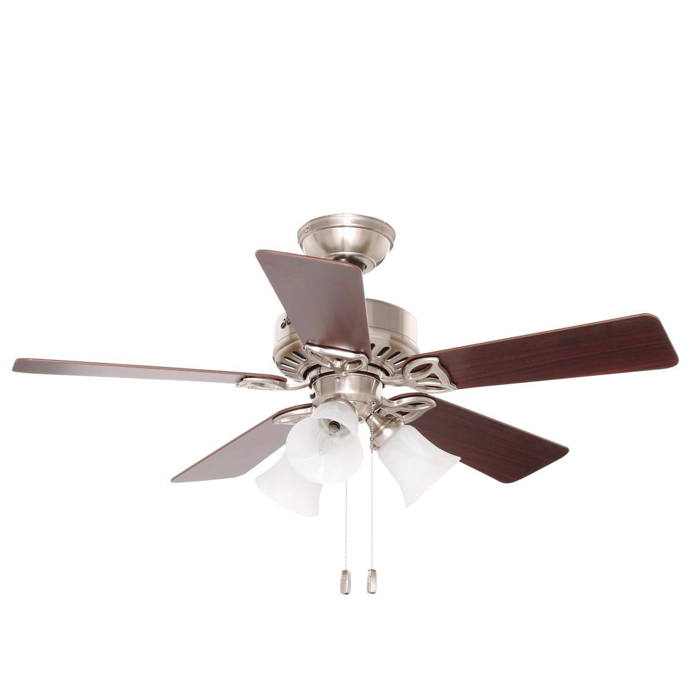 Hunter beacon hill 42 in indoor brushed nickel ceiling fan with hunter beacon hill 42 in indoor brushed nickel ceiling fan with light 53079 the home depot aloadofball Image collections