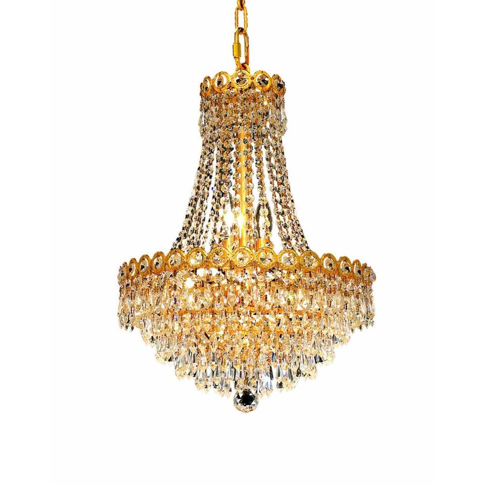 Elegant Lighting 8-Light Gold Chandelier with Clear Crystal