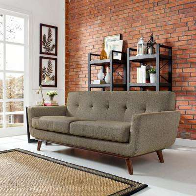 Engage Oatmeal Upholstered Fabric Loveseat