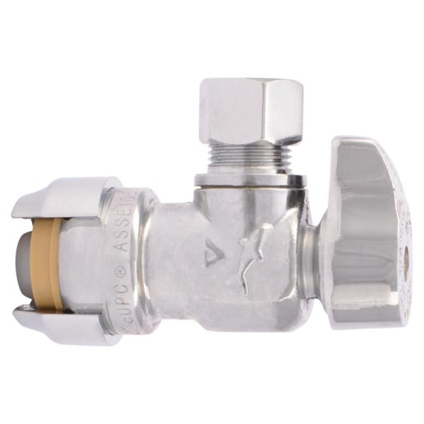 1/2 in. Push-to-Connect x 3/8 in. O.D. Compression Chrome-Plated Brass Quarter-Turn Angle Stop Valve