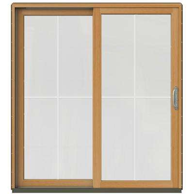 71-1/4 in. x 79-1/2 in. W-2500 Dark Chocolate Prehung Left-Hand Clad-Wood Sliding Patio Door with 4-Lite Grids