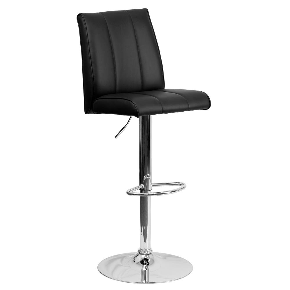 33.50 in. Adjustable Height Black Cushioned Bar Stool