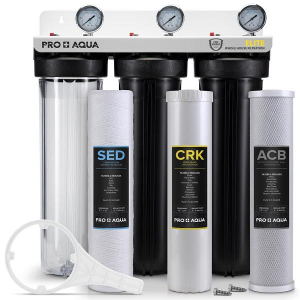 Pro Aqua ELITE Whole House Water Filter 3 Stage Well Water Filtration System with Gauges, PR Button, 1 Ports, Filter Set