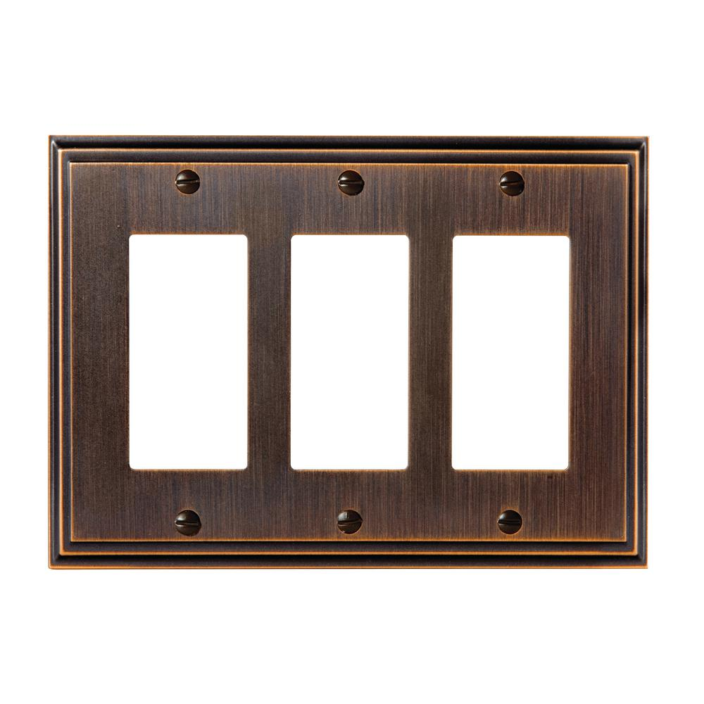 Mulholland 3-Rocker Wall Plate, Oil-Rubbed Bronze