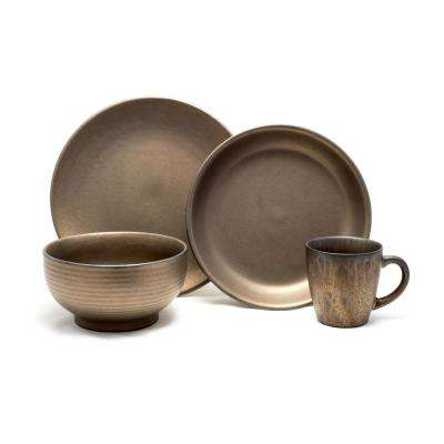 16 Piece Rubbed Gold Teton Dinnerware Set