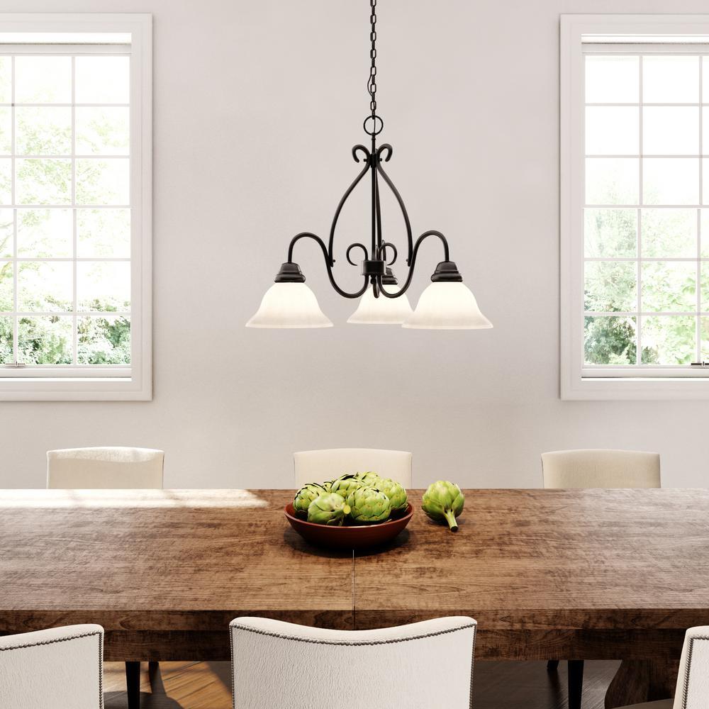 Adria 3-Light Textured Flat Black Chandelier with Alabaster Swirl Glass