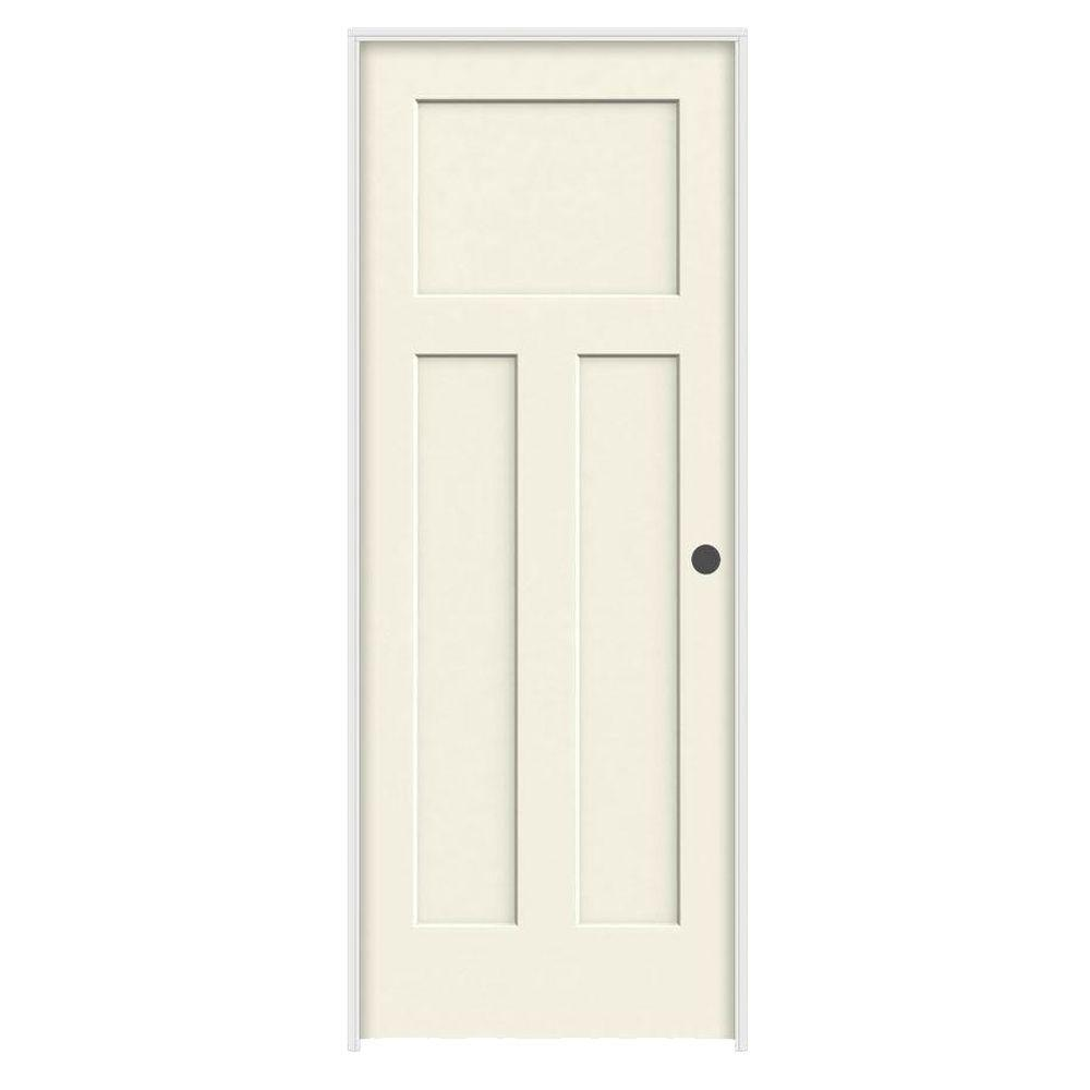 32 in. x 80 in. Craftsman Vanilla Painted Left-Hand Smooth Solid