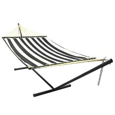 10-3/4 ft. Quilted 2-Person Hammock with 12 ft. Stand in Black and White