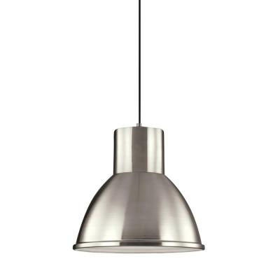 Division Street 15 in. W.  1-Light Brushed Nickel Pendant