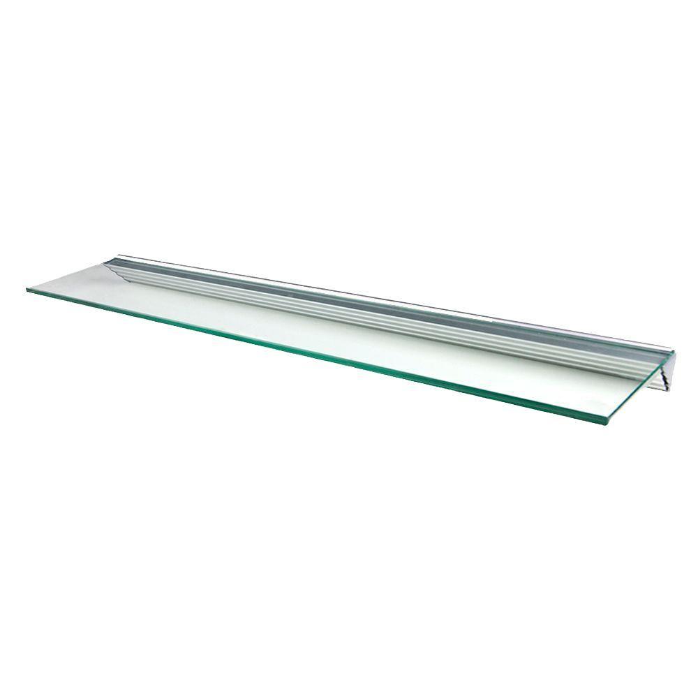 Wallscapes Glacier Clear Glass Shelf with Silver Bracket Shelf Kit ...