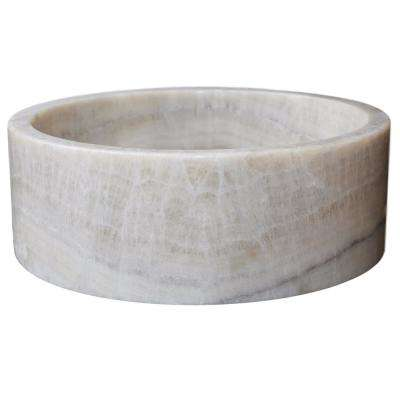 Cylindrical Natural Stone Vessel Sink in Honey White