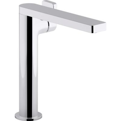 Composed Single-Hole Single-Handle Tall Vessel Bathroom Faucet with Lever Handle and Drain in Polished Chrome