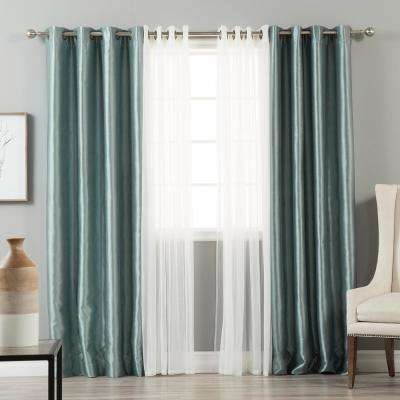84 in. L uMIXm Tulle and Blue Dawn Faux Silk Blackout Curtain (4-Pack)