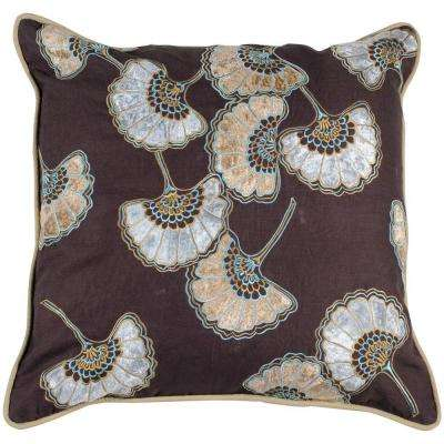FloralE 18 in. x 18 in. Decorative Down Pillow