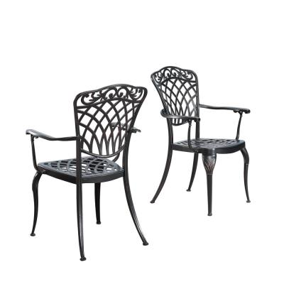 Ornate Antique Copper Stationary Aluminum Outdoor Dining Chair (2-Pack)