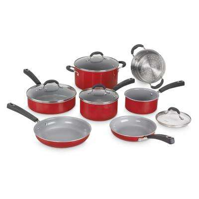 ADVANTAGE CERAMICA XT NON-STICK 11-Piece Red Cookware Set