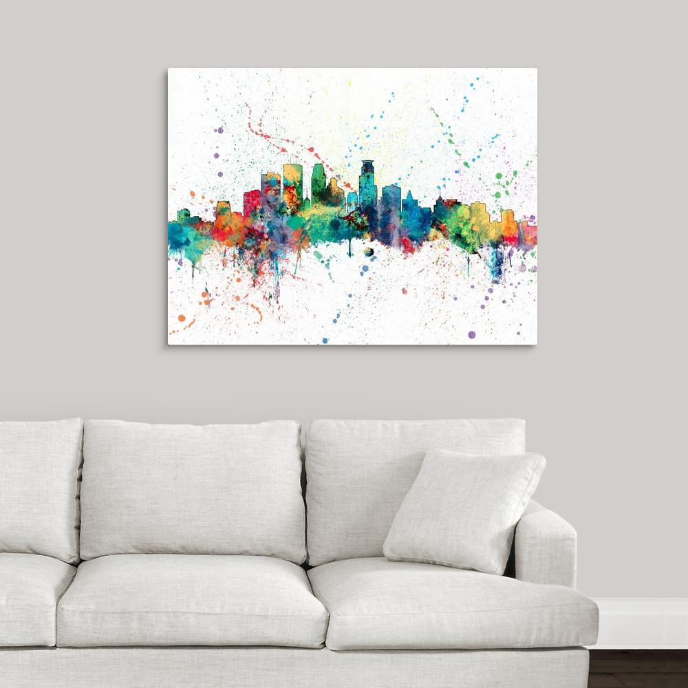 """Canvas Art Print /""""Minneapolis Minnesota Skyline/"""""""