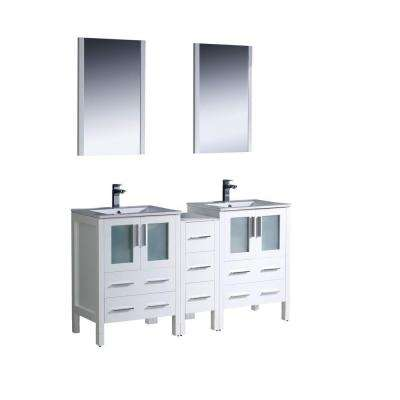 Torino 60 in. Double Vanity in White with Ceramic Vanity Top in White with White Basins and Mirrors