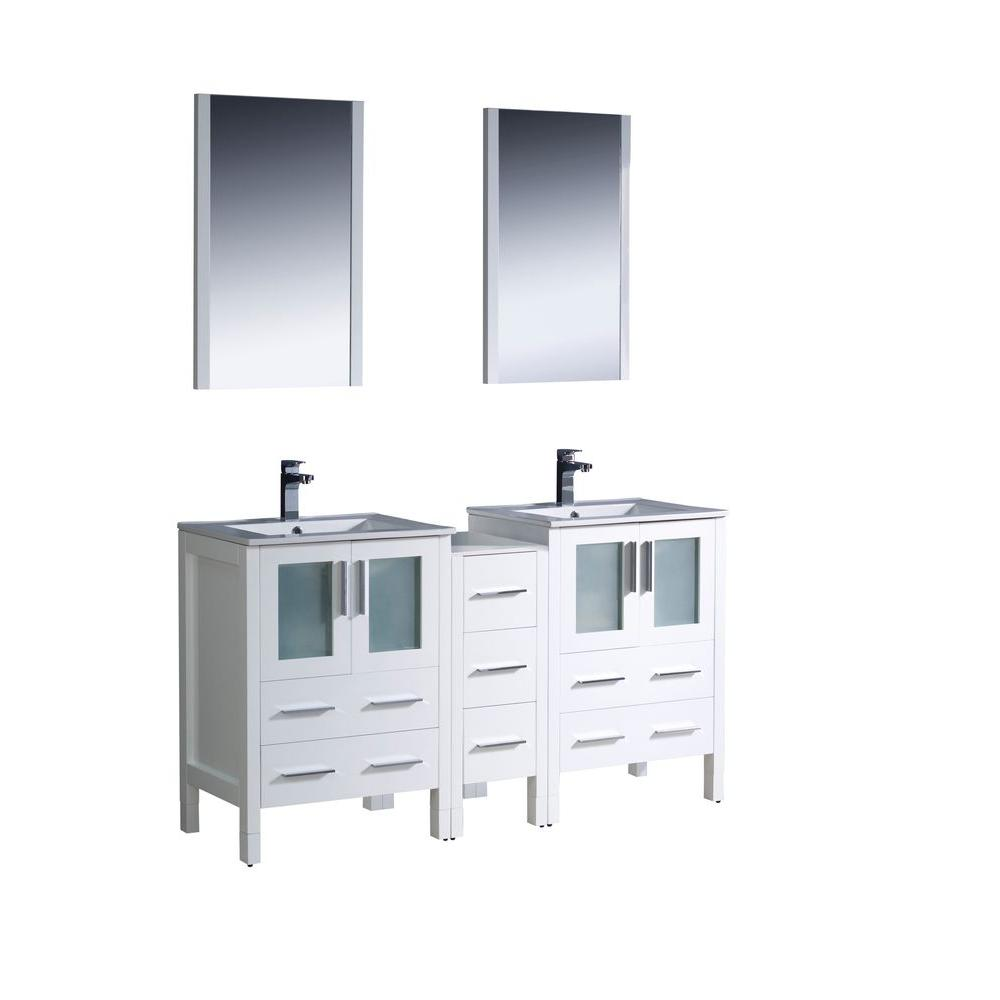 Fresca Torino 60 in. Double Vanity in White with Ceramic Vanity Top in White with White Basins and Mirrors