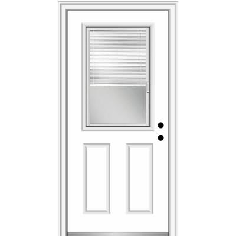 30 in. x 80 in. Internal Blinds Left-Hand 1/2-Lite Clear 2-Panel Classic Primed Fiberglass Smooth Prehung Front Door