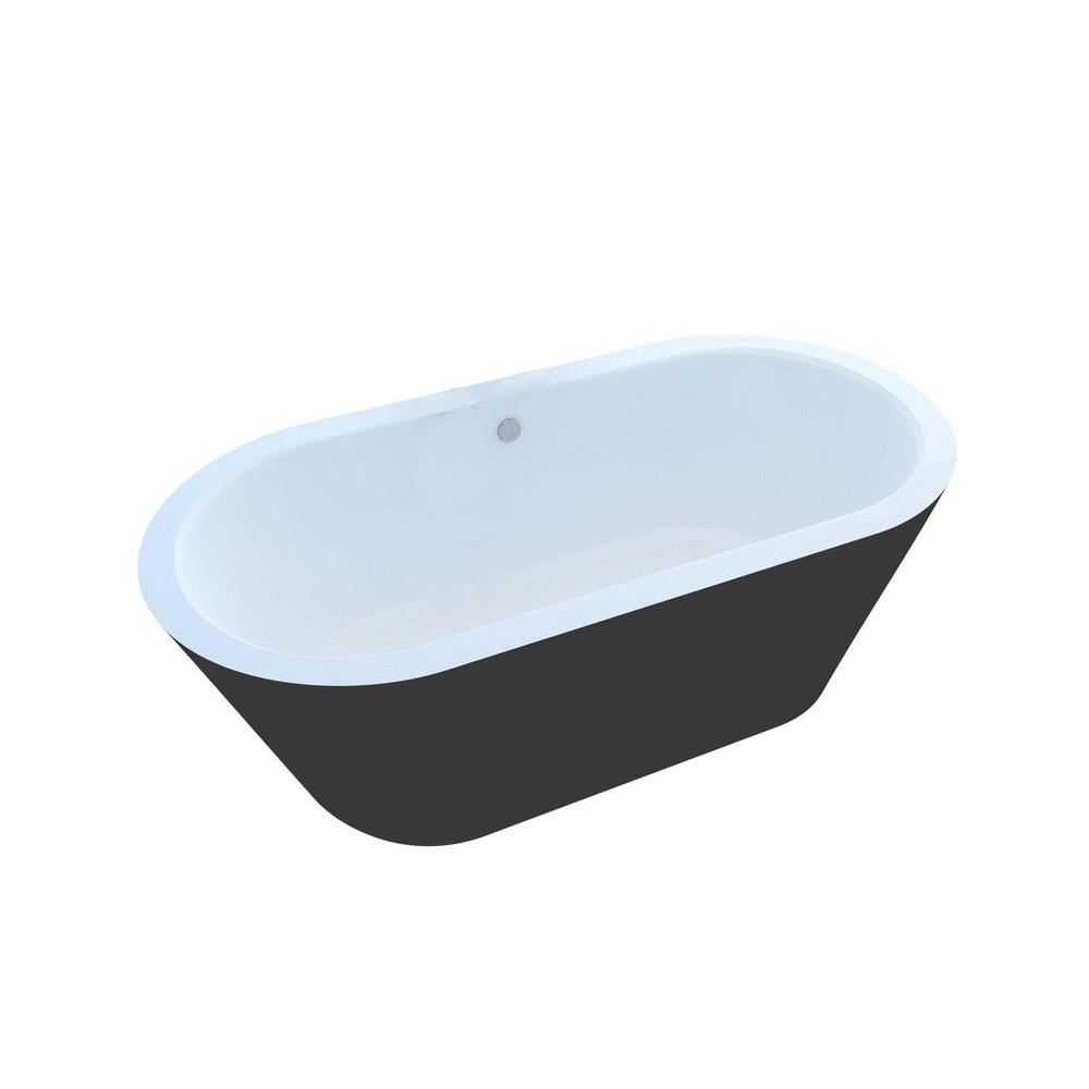 Universal Tubs Obsidian 5.9 ft. Acrylic Center Drain Oval Bathtub in ...