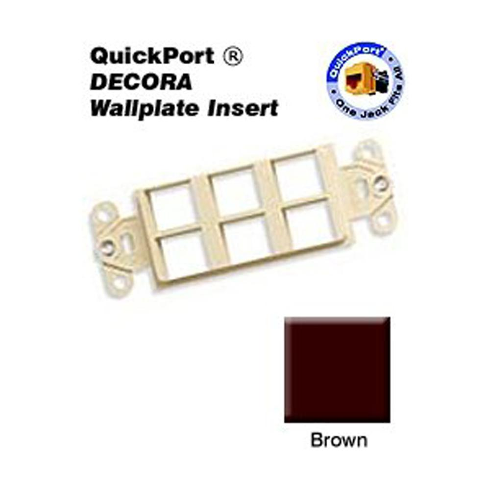 1-Gang Decora QuickPort 6-Port Insert in Brown