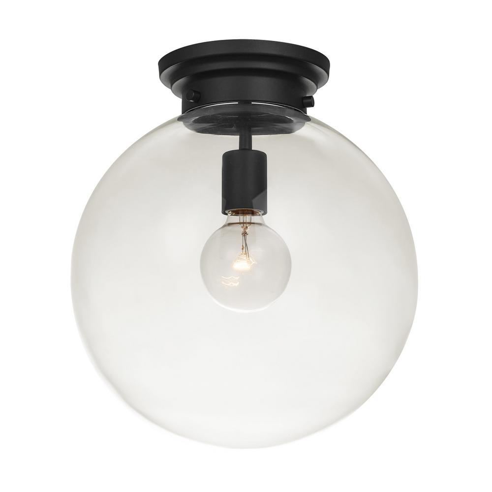 Globe Electric Portland 1 Light Black Semi Flush Mount