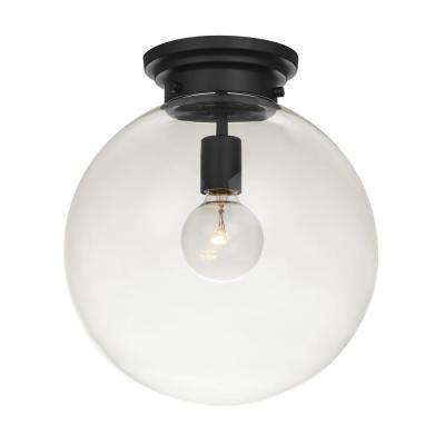 Portland 1-Light Black Semi-Flush Mount