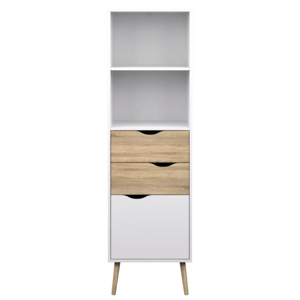 67.44 in. White/Oak Structure Wood 4-shelf Standard Bookcase with Doors