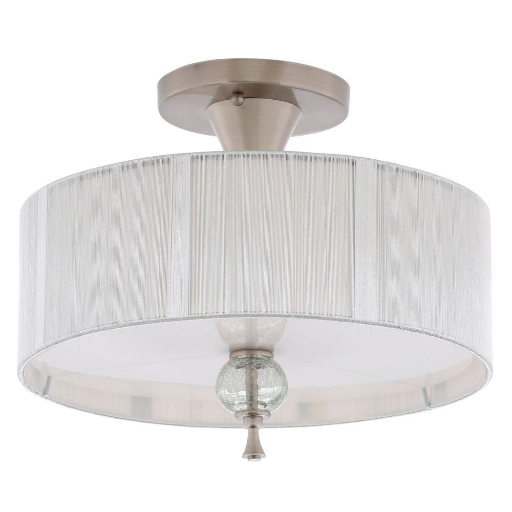 World Imports Bayonne Collection 14 in. 3-Light Brushed Nickel Semi-Flushmount with Silver String Lined Shade