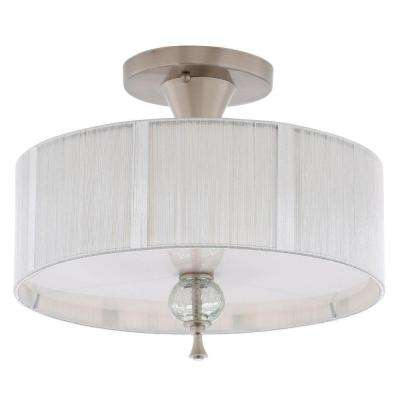 Bayonne Collection 3-Light Brushed Nickel Ceiling Semi-Flush Mount Light Fixture