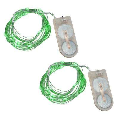 40-Light Mini Battery Operated Waterproof String Lights in Green (2-Count)