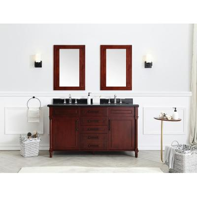 Aberdeen 60 in. W x 22 in. D Bath Vanity in Dark Cherry with Granite Top in Black with White Sinks