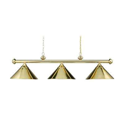 3 Light Ceiling Mount Polished Brass Island Light