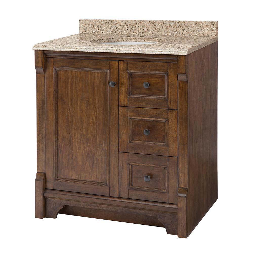 Creedmoor 31 in W x 22 in D Vanity in Walnut with Granite Vanity Top in Beige with White Sink