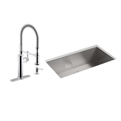Lyric All-in-One Undermount Stainless Steel 32 in. Single Bowl Kitchen Sink with Sous Kitchen Faucet in Polished Chrome