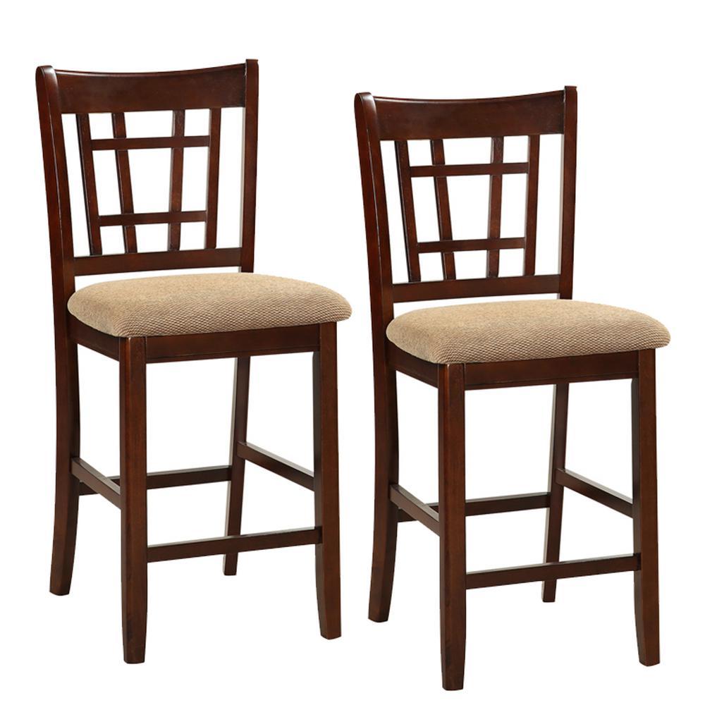 Fabulous Benjara 41 In Dark Brown And Cream Wooden Counter Height Ibusinesslaw Wood Chair Design Ideas Ibusinesslaworg